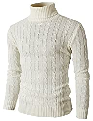 H2H Mens Casual Turtleneck Slim Fit Pullover Sweaters with Twist Patterned IVORY US S/Asia M (KMOSWL033)
