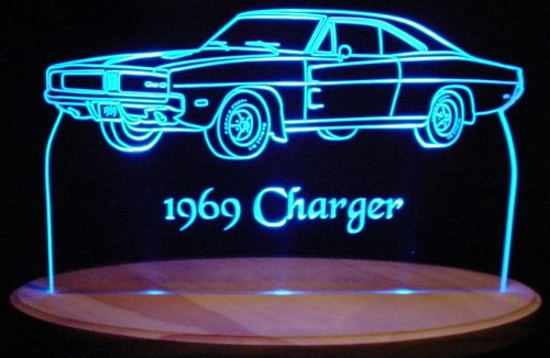 1969 Dodge Charger Acrylic Lighted Edge Lit Led Car Sign / Light Up Plaque 69