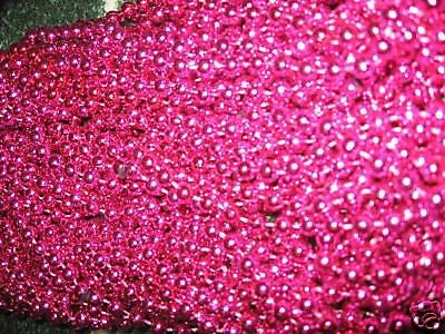 [180 *HOT PINK* MARDI GRAS BEADS*BREAST CANCER AWARENESS*FREE PRIORITY SHIPPING!] (Jumbo Mardi Gras Beads)