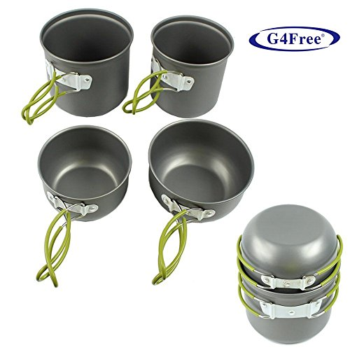 G4Free® 4pcs Outdoor Camping pan Hiking Cookware Backpacking Cooking Picnic Bowl Pot s and Pans Set
