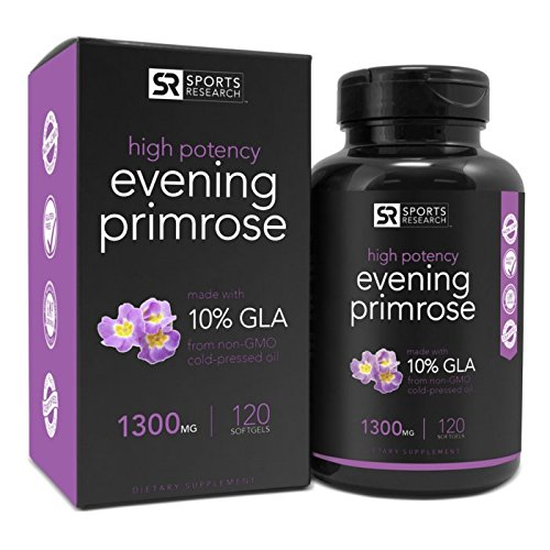Evening Primrose Oil 1300mg 120 Liquid Softgels, Cold-Pressed with No fillers or Artificial Ingredients; Non-GMO & Gluten Free, Made in the USA