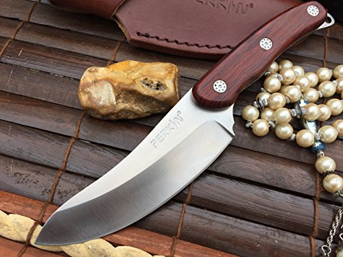 Hunting Knife FOR SALE - 440c Steel - Beautiful Camping Knife with Leather Sheath