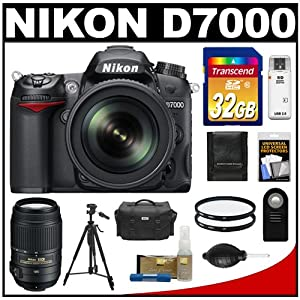 Nikon D7000 Digital SLR Camera & 18-105mm VR DX AF-S Zoom Lens with 55-300mm VR Lens + 32GB Card + Case + Tripod + Filters + Remote + Accessory Kit