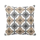 Abstract Floral Clover Pattern in Tan and Grey Throw Pillow Personalized 18x18 Inch Square Cotton Throw Pillow Case Decor Cushion Covers