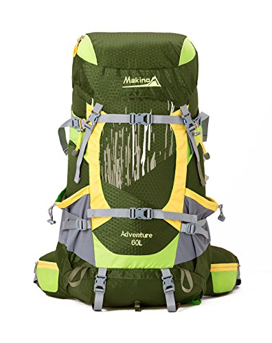 Makino Outdoor Hiking Waterproof Internal Frame Backpack 60L with Rain Cover 5555 Cypress green (Alice Backpack With Frame compare prices)