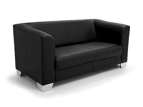 CHICAGO 2er Sofa / Ledersofa, schwarz
