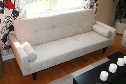 Lowest Prices! Beige Convertible Sofa High Quailty High Density Futon Klik Klak Modern