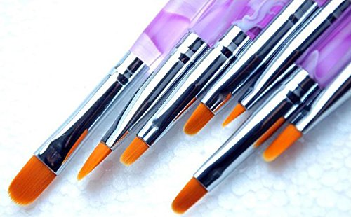 ジェル ネイル ブラシ UV 用 平筆 ブラシ 7本 セット 爪 アート プロ仕様 (7本セット)