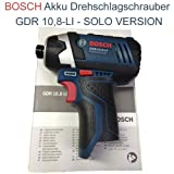 Bosch Cordless Impact Driver GDR 10.8 Li without L-Boxx insert without Batteries and Charger Incl. Instruction Manual