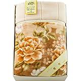 京都西川 抗菌防臭 制電性繊維使用 新合繊衿付き2枚合わせアクリル毛布 ベージュ 07A-ABK-8157