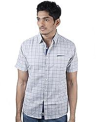Mavango Modish Blue & Grey Checkered Regular Fit Men's Casual Cotton Shirt