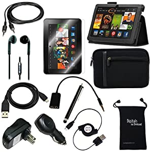 "DigitalsOnDemand ® 12-Item Accessory Bundle Kit for Amazon Kindle Fire HDX 8.9"" 3rd Gen and New Fire HDX 8.9"" 4th Generation Tablet - Leather Case, Sleeve Cover, Screen Protector, Stylus Pen, USB Cables + Chargers (fits both Kindle Fire HDX 8.9"" and New Fire HDX 8.9 Inch - 2014 Release)"