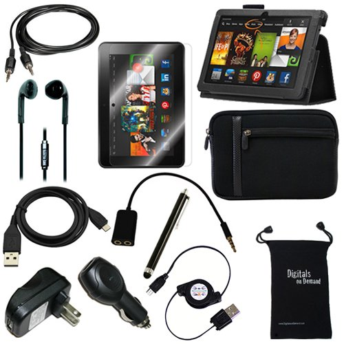 DigitalsOnDemand ® 12-Item Accessory Bundle Kit for Amazon Kindle Fire HDX 8.9″ 3rd Gen and New Fire HDX 8.9″ 4th Generation Tablet – Leather Case, Sleeve Cover, Screen Protector, Stylus Pen, USB Cables + Chargers (fits both Kindle Fire HDX 8.9″ and New Fire HDX 8.9 Inch – 2014 Release)