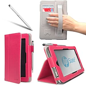 i-BLASON For HP Slate 7 Android Tablet Leather Case Cover (Elastic Hand Strap, Multi-Angle, Card Holder ) With Bonus Stylus 3 Year Warranty (Magenta)
