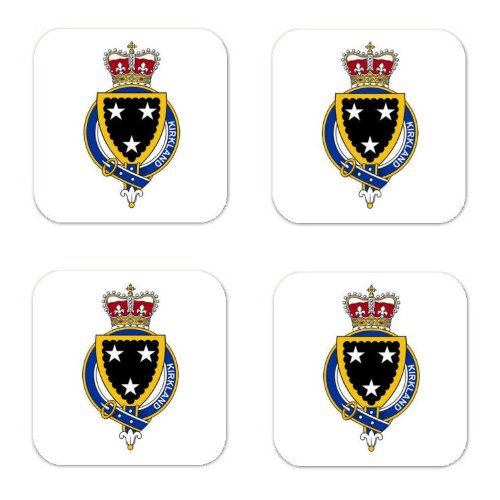 Kirkland Scotland Family Crest Square Coasters Coat Of Arms Coasters - Set Of 4 front-407913