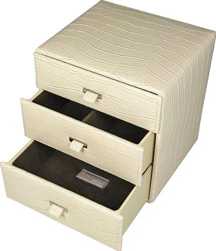 Boutique Small Cream/Choc 3 Drawer PU Jewellery Box70478