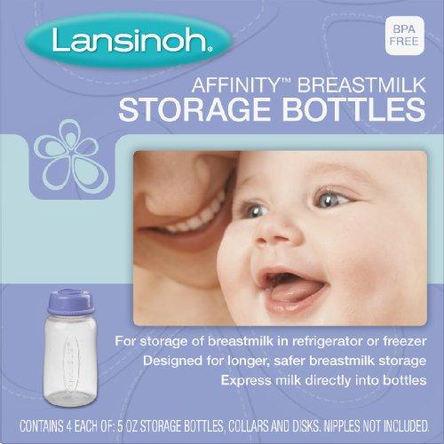 Lansinoh Affinity Breastmilk Storage Bottles, 4 Count