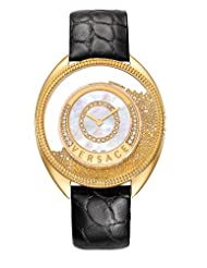 Versace Women's 86Q71SD498 S009 Destiny Spirit Gold IP Case Floating Spheres in Glass Bezel Mother of Pearl Dial Black Alligator Leather Diamond Watch