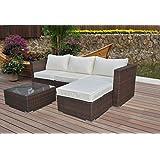 Polyrattan Lounge Sitzgruppe Gartenmöbel Garnitur Poly Rattan 3 bis 7 Sitzplätze plus Hocker (3 Sitzplätze + 1...