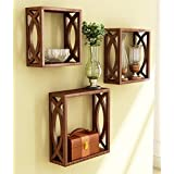 Onlineshoppee Home Decor Premium Solid Wood Shelf Rack Wall Bracket Handicraft Design Size(LxBxH-11x4x11) Inch Color-Brown