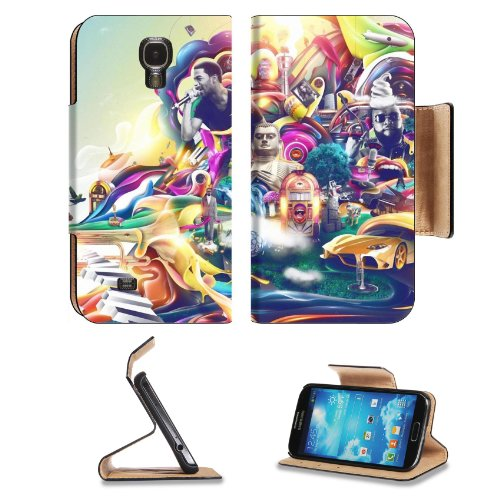 Multi Color Psychedelic Trippy Design Samsung Galaxy S4 Flip Cover Case With Card Holder Customized Made To Order Support Ready Premium Deluxe Pu Leather 5 Inch (140Mm) X 3 1/4 Inch (80Mm) X 9/16 Inch (14Mm) Luxlady S Iv S 4 Professional Cases Accessories