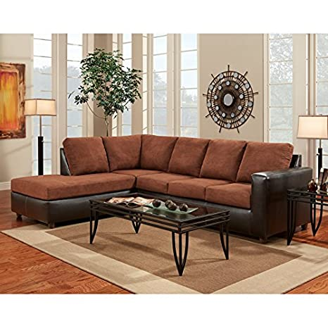 Exceptional Designs L-Shaped Sectional Aruba Chocolate Microfiber