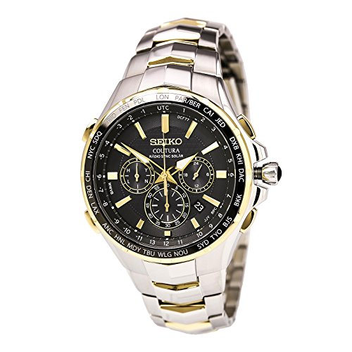 Seiko Coutura Radio Sync Solar Chronograph Two Tone Mens Watch SSG010