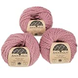 100% Baby Alpaca Yarn Weight Category #1 Super Fine,Sock,Fingering -Set of 3 Skeins 150 Grams-Luxuriously and Caring Soft for Knitting and Crocheting (#5 Bulky, Pink Mauve) (Color: Pink Mauve, Tamaño: #5 Bulky)