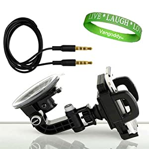 Smart Phone Rotatable Car Window, Dashboard, and Vent Mount Accessories Kit: Black for LG Spectrum + Universal 3.5mm Jack Auxiliary Cable + Live*Laugh*Love VG Wristband!!