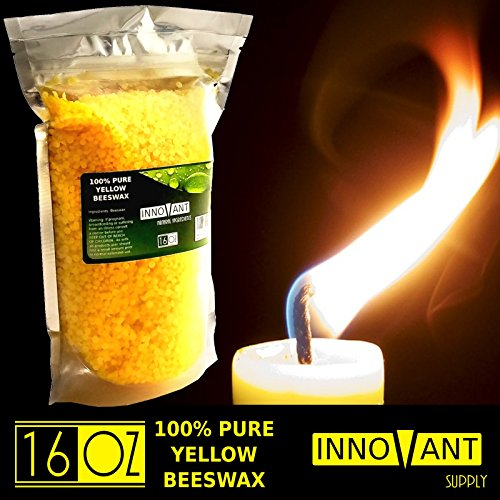 INNOVANT 1 lb 100% Pure Yellow Natural Organic Premium Cosmetic Grade Beeswax Pellets - Triple Filtered. Best Uses - Creams, Lotions, Deodorants, Lip Balm, Candles, Lubricant 16 oz / 1lb (Parafin Wax For Candle Making compare prices)
