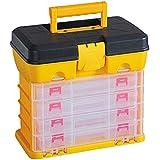 4 Stage Plastic Toolbox Organiser 52 Compartment Trays Adjustable Slots Storage