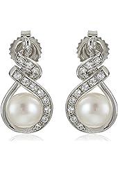 Sterling Silver 7-8mm White Button Freshwater Cultured Pearl Cubic Zirconia Swirl Drop Earrings