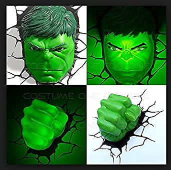 3d Deco Superhero Wall Lights Review : Hulk Face and Fist 3d Deco Superhero Wall Night Light - - Amazon.com