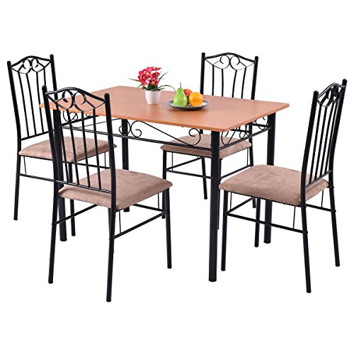 5 PC Dining Set Wood Metal Table and 4 Chairs Kitchen  : 51xnXoQlz5L from breakfaststation.co.uk size 500 x 500 jpeg 40kB