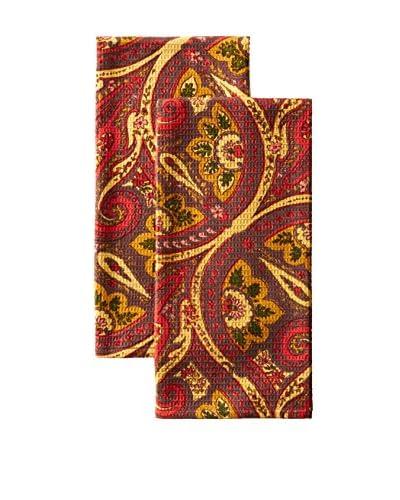 April Cornell Set of 2 Paris Paisley Tea Towels, Chocolate