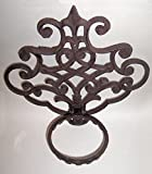 """ABC Products"" - Heavy Cast Iron - Wall Mount - With Elegant Scroll Work - Flower Pot - Fold-Up Hanger (Bronze Rustic Color Finish - Primitive Design - Indoor or Outdoor Use - Weights 3-3/4 lb. - Flower Pot Not Included)"