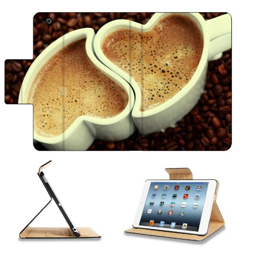 Coffee Beans Heart Shape Cups Apple Ipad Mini Flip Case Stand Smart Magnetic Cover Open Ports Customized Made To Order Support Ready Premium Deluxe Pu Leather 8 Inch (205Mm) X 5 1/2 Inch (140Mm) X 11/16 Inch (17Mm) Msd Ipad Mini Professional Ipadmini Case