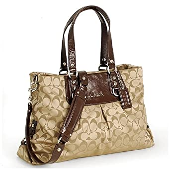 Coach Signature Ashley Carrall Bussiness Satchel Bag Tote 15510 Khaki Mahogany