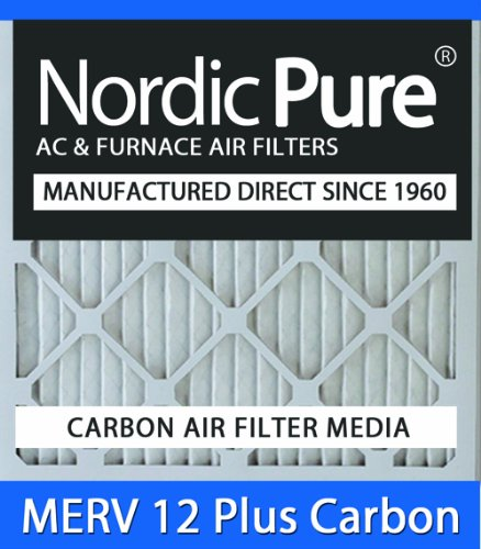 Nordic Pure 18x18x1M12+C-6 MERV 12 Plus Carbon AC Furnace Air Filters, Qty-6