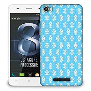 Snoogg White Floral Blue Pattern Designer Protective Phone Back Case Cover For LAVA IRIS X8