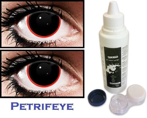 Vampire Black with Red Ring Non Prescription (2 lenses in pack) Fashion Halloween Contact Lenses By Petrifeye Eyes With Free 120ml Solution And Blue/White Soaking Case