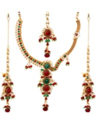 Exotic India Faux Emerald And Ruby Necklace Set With Tika - Copper Alloy
