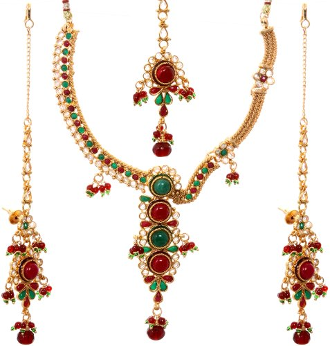 Faux Emerald and Ruby Necklace Set with Tika - Copper Alloy