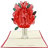 KingKeyGo 3D Pop Up Customized Greeting Card Happy Birthday Thank You Best Wish Good Luck Wedding Anniversary Friendship Merry Christmas Thanksgiving Father's Day valentine's Day(Rose)