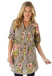 Roamans Women\'s Plus Size English Floral Shirt Grey,18 W