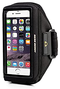 Gear Beast Case Compatible Sports Armband for Otterbox Commuter & Defender Cases for Apple iPhone 6 (4.7 Inch) & Galaxy S6 / S5 / S4 & Samsung Alpha & HTC & Droid & Nokia & More (Black)
