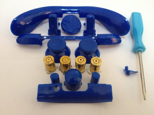 Xbox 360 Abxy Brass Bullet Buttons + Full Blue Mod Kit, Thumbsticks, Dpad, Lb Rb Triggers,Sync Lt/Rt