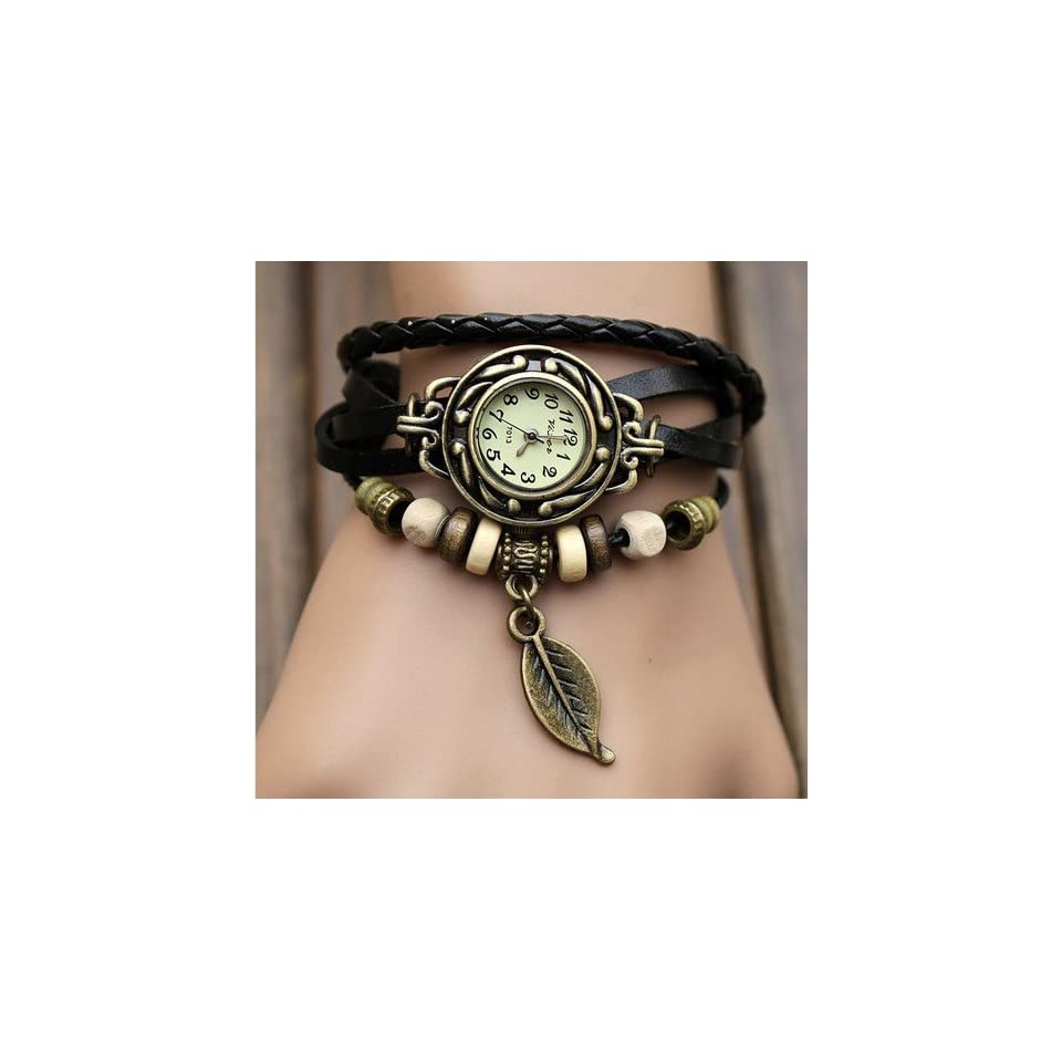 Eforcase Girls Fashion Classic Leather Strap Roma Number Dial Quartz Wrist Watch Black