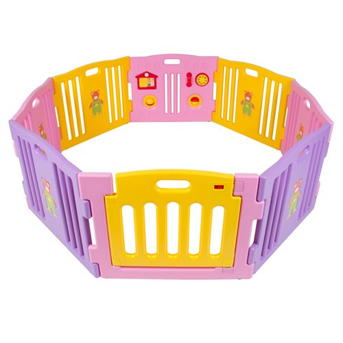 Best Choice Products® Baby Playpen Kids 8 Panel Safety Play Center Yard Home Indoor Outdoor New Pen - Pink