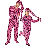 Sketchy Hearts Fleece Adult Footed Pajamas with Drop Seat and Long Night Cap